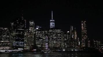 distrito financeiro de nova york à noite
