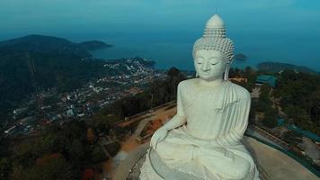 Aerial: Birds-eye view at Big Buddha.