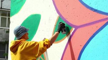 Guy dibujo con spray en la pared en el parque de la ciudad video