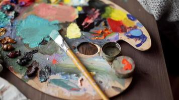Artist palette in art concept video