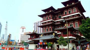 time-lapse: temple de la dent de Bouddha dans la ville de singapour
