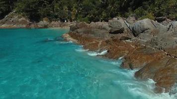 aéreo: explore la hermosa playa de arena blanca. video