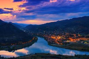 Night panoramic view of Mtskheta city photo