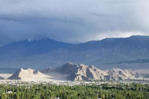 Mountain and vast green valley of leh