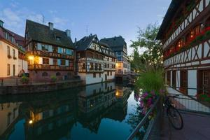 The Petite-France area in night Strasbourg.