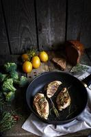 Rustic composition with roasted chicken