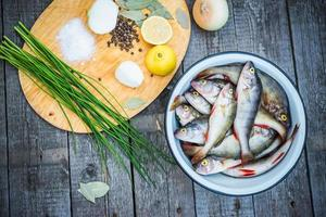 Rustic, Ingredients, Cooking, Raw Foods, Fish, Perch, Spices photo