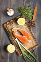 Salmon, lemon and spices.