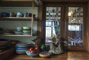 kitchen scene in 1920s New Zealand bungalow photo