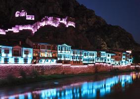 Night view of Amasya, Turkey photo