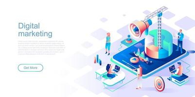 Digital marketing landing page template vector