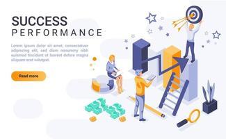 página de destino isométrica de rendimiento de éxito vector