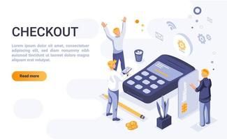 Checkout isometric landing page vector