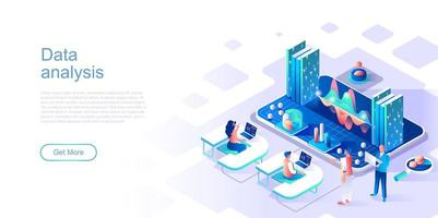Data analysis landing page template vector