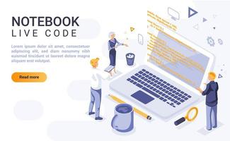 Notebook live code isometric landing page vector