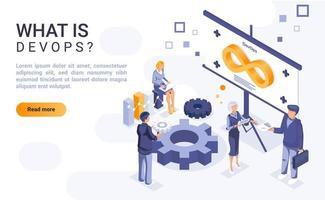 ¿Qué es la página de aterrizaje isométrica de DevOps? vector