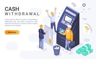 Cash withdrawal isometric landing page vector