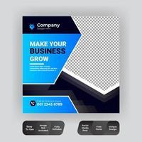 Plantilla de publicación de venta de redes sociales en azul y negro vector
