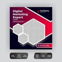 plantilla de publicación de redes sociales hexagonal en rojo y negro vector