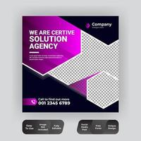 Marketing social media post template in purple and black