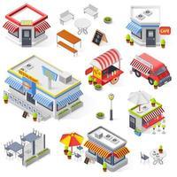 Isometric street food icon set vector