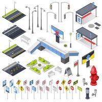 conjunto de iconos de elementos de paisaje urbano isométrico