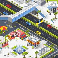 Isometric urbanscape with food trucks vector