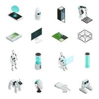 Isometric artificial intelligence icon set vector