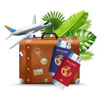 vacaciones y viajes composición realista.