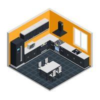 interior de cocina moderna isométrica vector