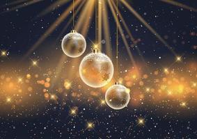 adornos navideños sobre un fondo de luces bokeh