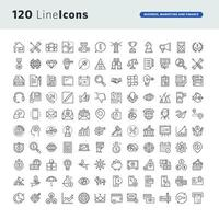 Set of Line Icons for Business, Marketing, and Finance vector
