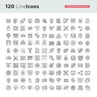 conjunto de iconos de línea para diseño gráfico, diseño web, desarrollo vector