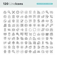 Set of Line Icons for Social Network and E-commerce