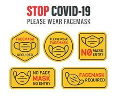 No Mask, No Entry Warning Sign Set
