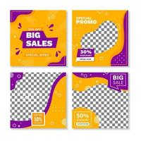 Square yellow purple geometric shape banners vector