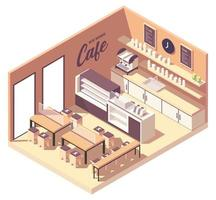 Isometric cafeteria coffee shop in new normal