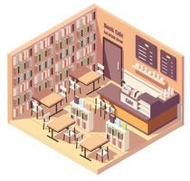 Isometric interior of bookstore or library cafe vector