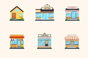 Flat Design Store Buildings