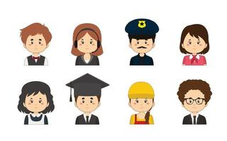 Set Of Worker Avatars vector