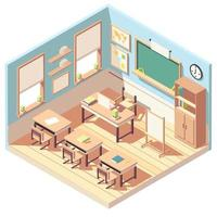 Isometric lovely empty classroom interior