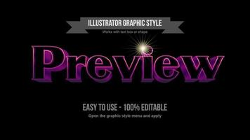 efecto de texto de espacio negro 3d elegante trazo brillante púrpura y rosa vector