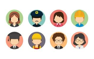 Set Of Variety of Workers Flat Circle Avatars vector