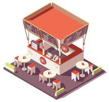 Isometric outdoor fast food restaurant vector