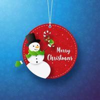 linda etiqueta navideña redonda decorativa con muñeco de nieve