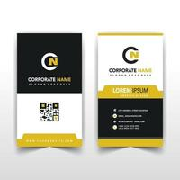 Yellow back and front business card template vector