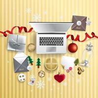 Merry Christmas festive design with decorations and laptop