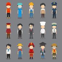 Set of 15 Flat Profession Male Avatars