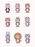Handrawn kids in animal costumes set vector