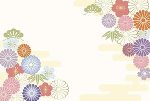 New Years Greeting Card Decorated With Japanese Vintage Charms vector